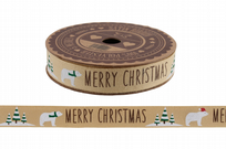 Polar Bear Merry Christmas 5m Cotton Ribbon